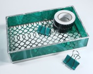 These new desk trays are larger than others in my shop. The sides of each tray are made from colored glass, while the bottom features patterned paper pressed between clear glass.