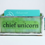 Business card holders are a fun way to decorate your desk. I've added a few new job titles, including this one for chief unicorn. Or, request a custom card holder just for you!